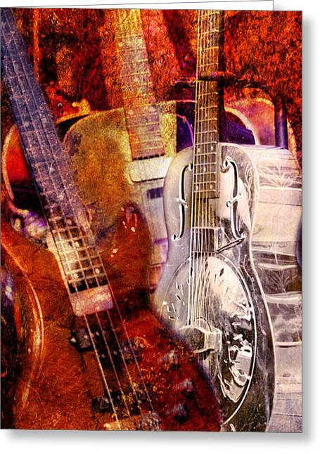 Greeting Card featuring the photograph Blues Guitars by Bob Coates