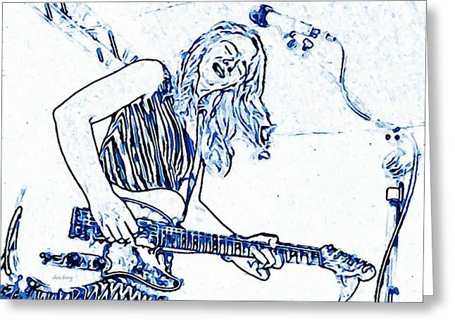 Blues In Blue Greeting Card by Chris Berry