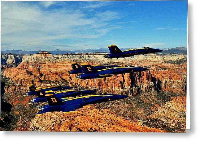 Blues Over Zion Greeting Card by Benjamin Yeager