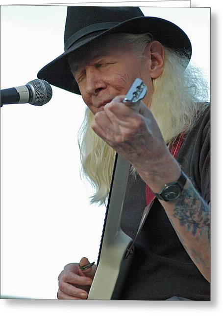 Bluesman Johnny Winter Greeting Card by Mike Martin