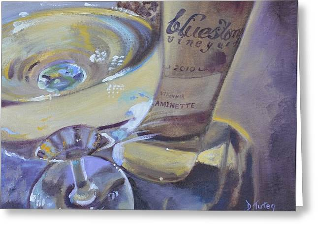 Bluestone Traminette And Glass Greeting Card by Donna Tuten
