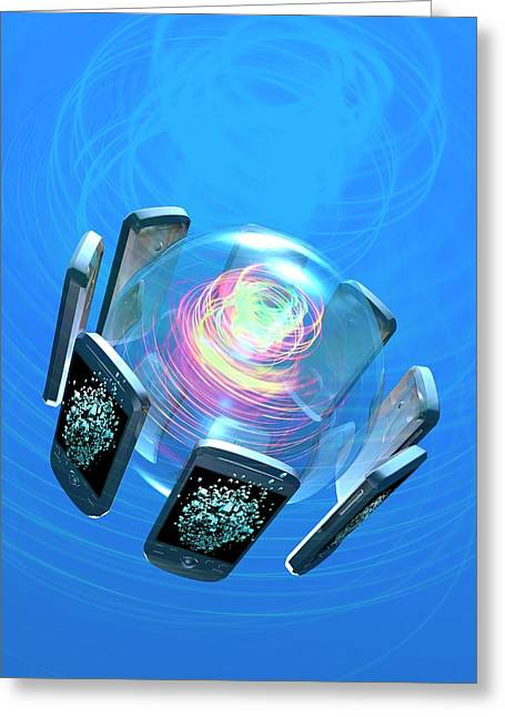 Bluetooth Conceptual Artwork Greeting Card by Victor Habbick Visions