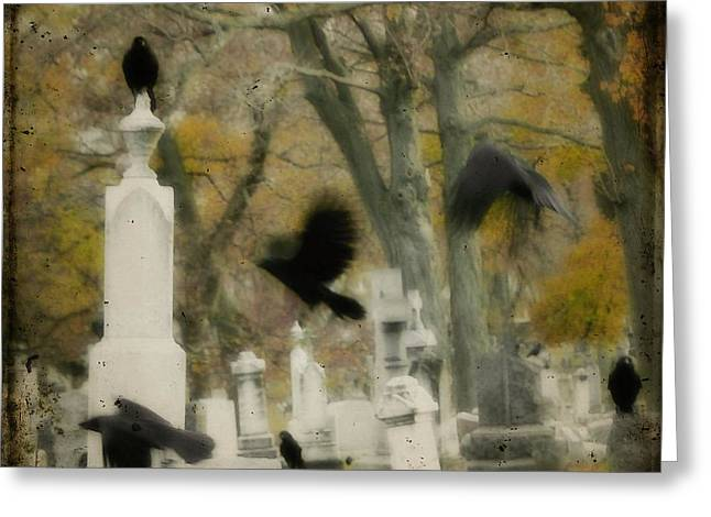 Blur Of Crows Greeting Card