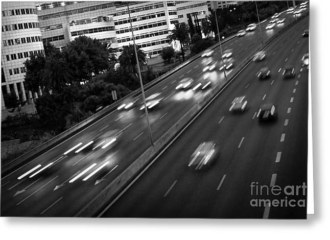 Blurred Cars Greeting Card by Carlos Caetano