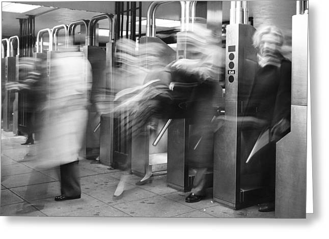 Greeting Card featuring the photograph Blurred In Turnstile by Dave Beckerman