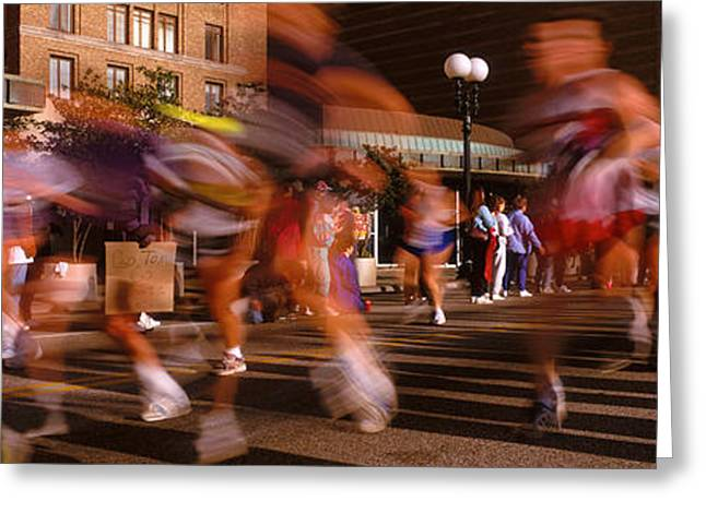 Blurred Motion Of Marathon Runners Greeting Card by Panoramic Images