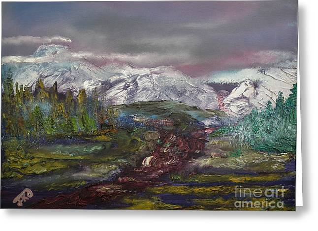 Blurred Mountain Greeting Card by Jan Dappen