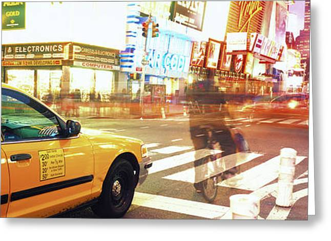 Blurred Traffic In Times Square, New Greeting Card by Panoramic Images