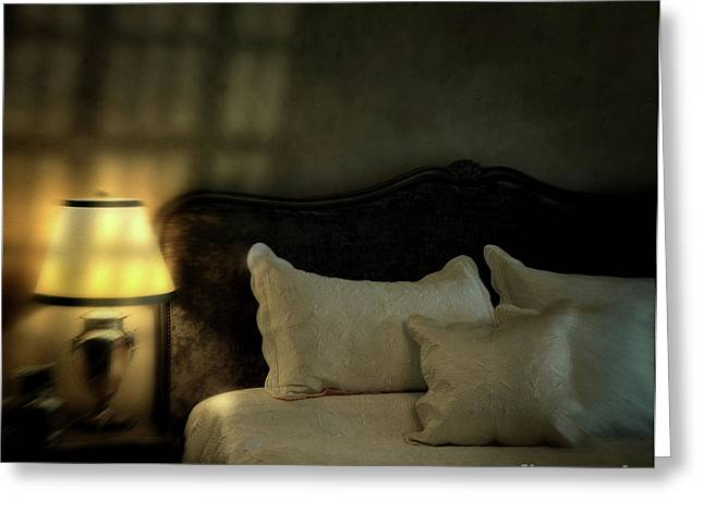 Blurry Image Of A Vintage Looking Bedroom Greeting Card by Sandra Cunningham