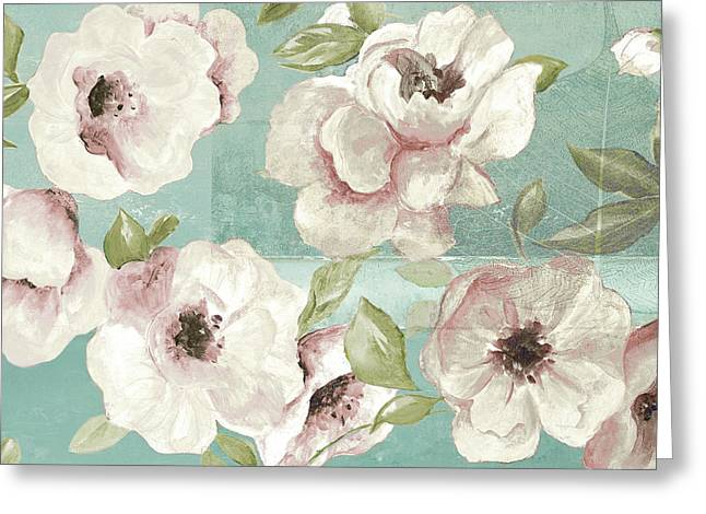 Blush Flowers On Teal Greeting Card by Patricia Pinto