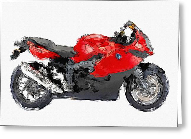 Bmw K 1300s Hand Painted Greeting Card