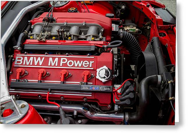 Bmw M Power Engine Greeting Card by Roger Mullenhour