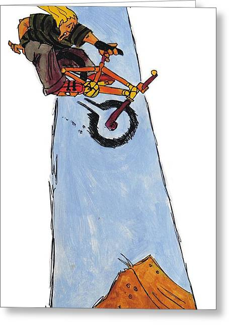 Bmx Drawing Greeting Card by Mike Jory