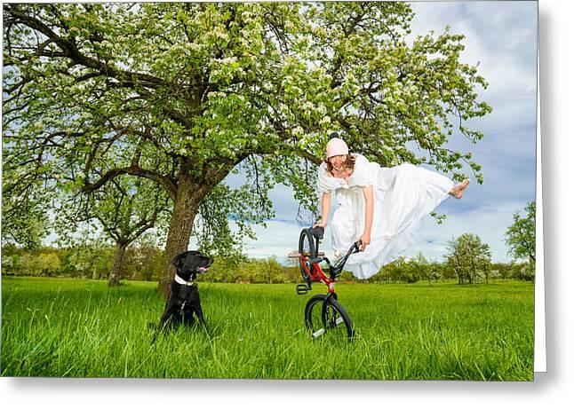 Bmx Flatland Bride Jumps In Spring Meadow Greeting Card by Matthias Hauser