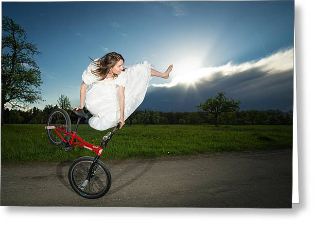 Bmx Flatland Rider Monika Hinz Jumps In Wedding Dress Greeting Card by Matthias Hauser