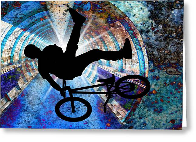 Bmx In A Grunge Tunnel Greeting Card by Elaine Plesser