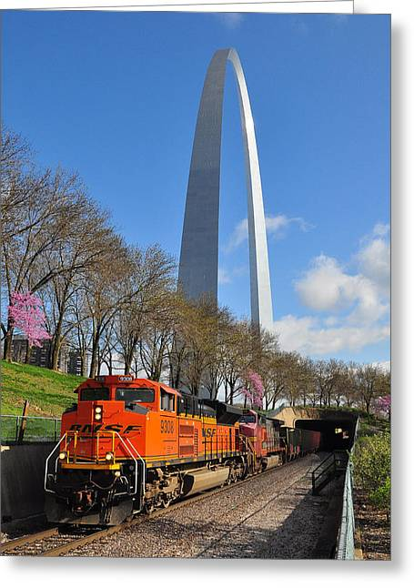 Bnsf Ore Train And St. Louis Gateway Arch Greeting Card