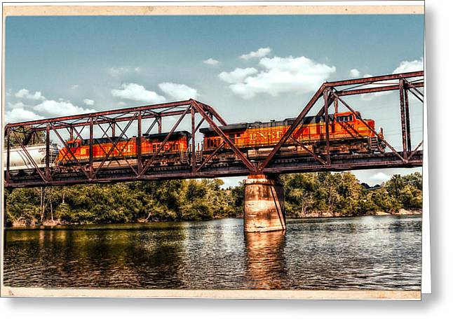 Bnsf Over The Meramec Greeting Card by Robert FERD Frank