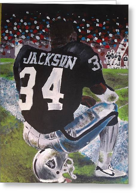 Bo Jackson II Greeting Card by Jeremy Moore
