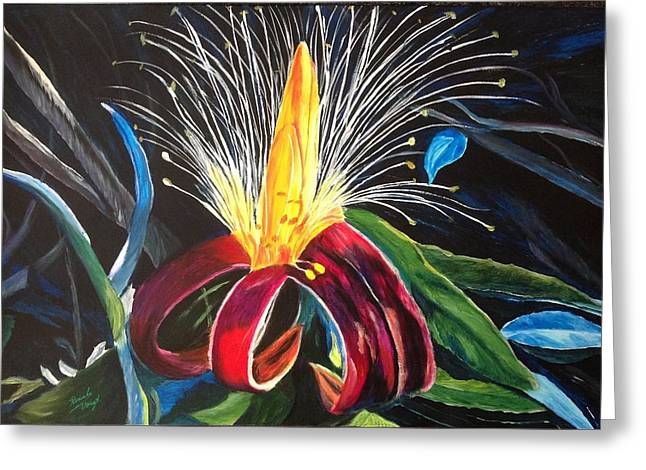 Greeting Card featuring the painting Boab Flower by Renate Voigt
