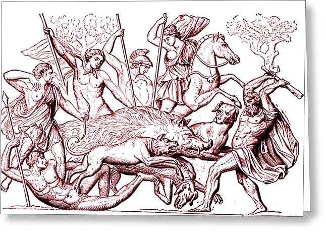 Boar Hunting In Ancient Greece Greeting Card