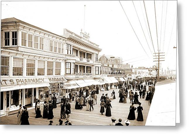 Board Walk Towards Steel Pier, Atlantic City Greeting Card by Litz Collection