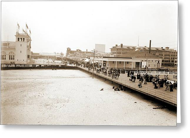 Board Walk West From Steel Pier, Atlantic City Greeting Card by Litz Collection