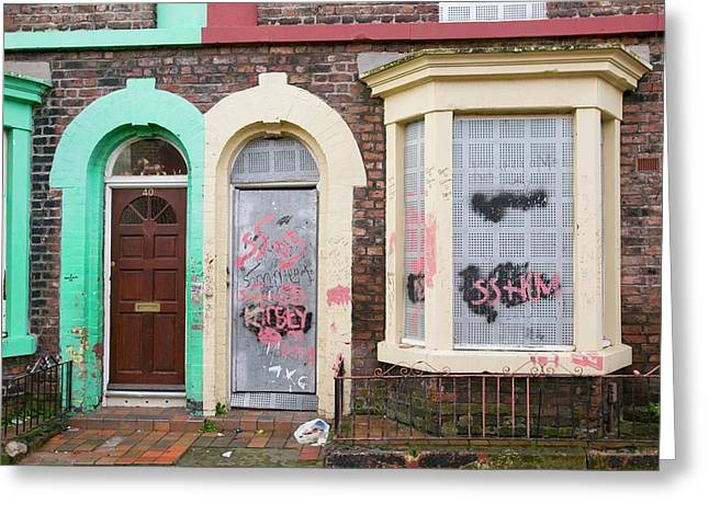 Boarded Up Houses Greeting Card by Ashley Cooper
