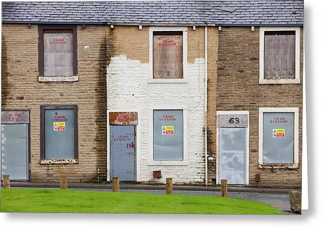 Boarded Up Terraced Houses In Burnley Greeting Card by Ashley Cooper