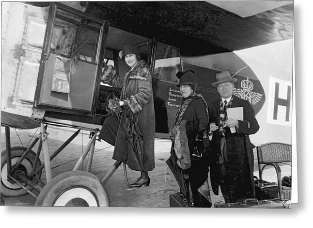 Boarding Fokker Airplane Greeting Card by Underwood Archives