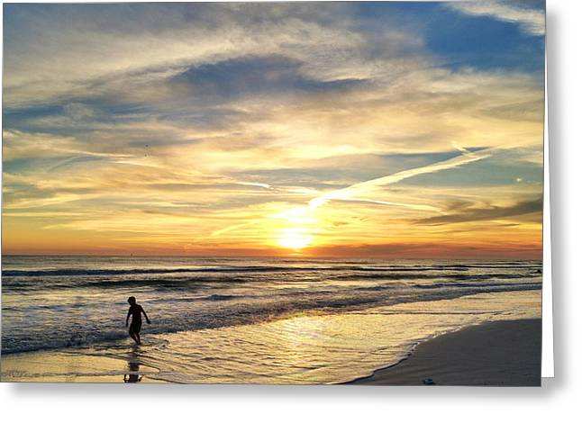 Boarding In The Sunset Greeting Card by Katie Theien