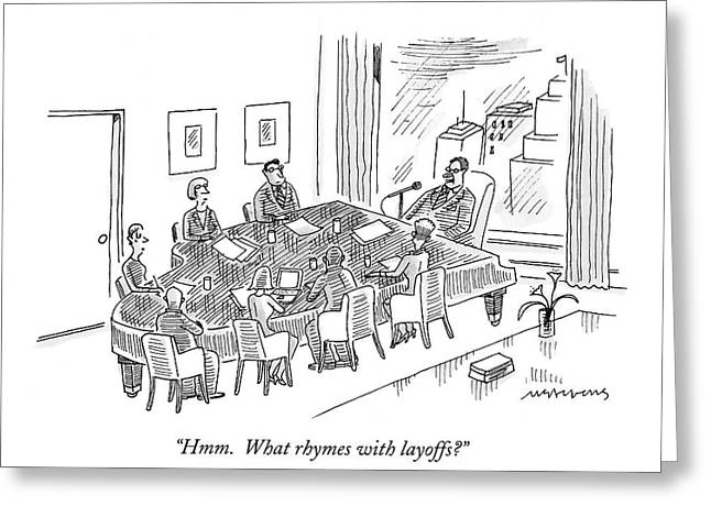 Boardroom With Boss Speaking At Piano Shaped Greeting Card