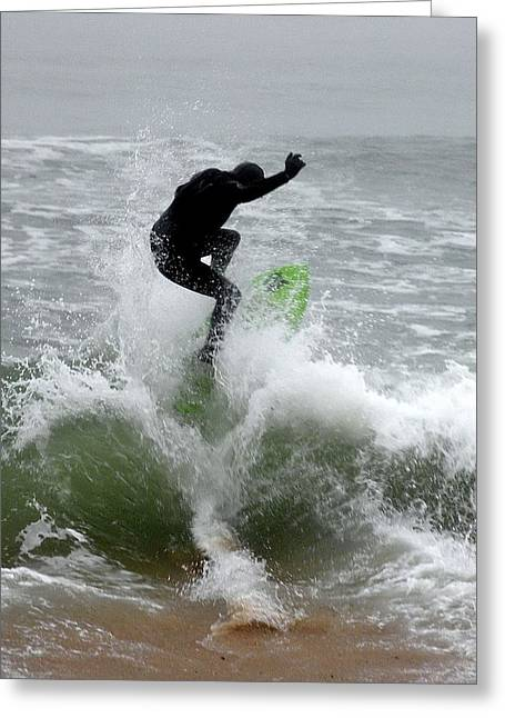 Boardskimming - Into The Surf Greeting Card by Kim Bemis