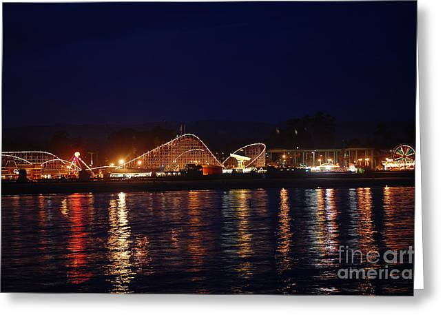 Santa Cruz Boardwalk At Night Greeting Card