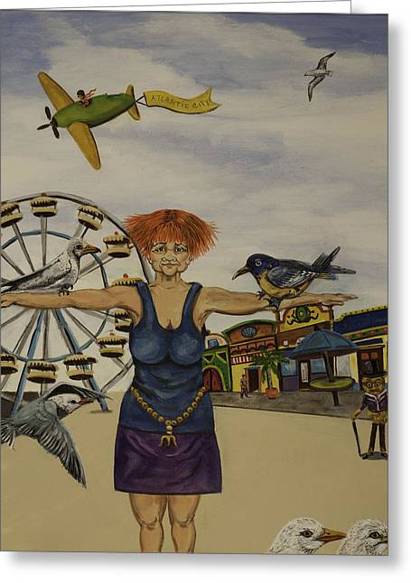 Boardwalk Birdwoman Greeting Card by Susan Culver