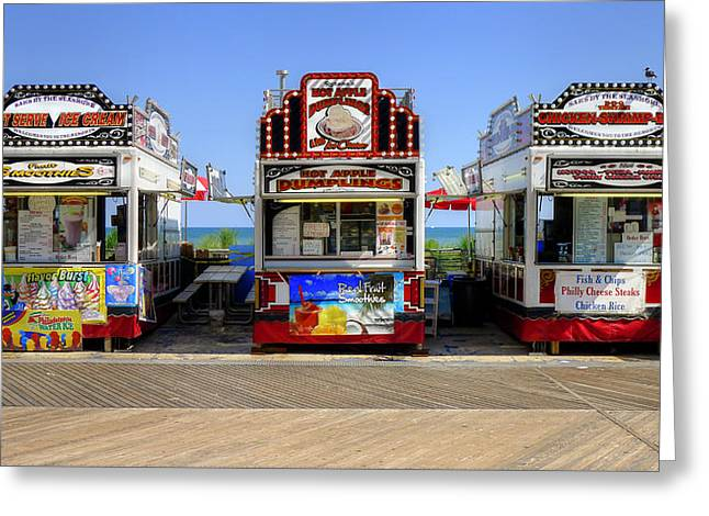 Greeting Card featuring the photograph Boardwalk Dining by Glenn DiPaola