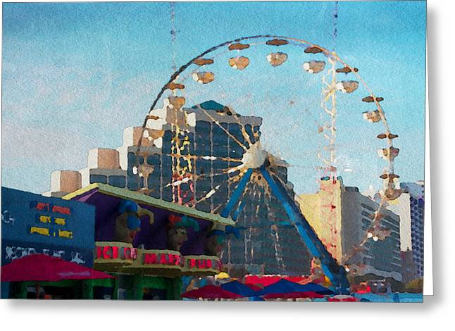 Boardwalk Ferris  Greeting Card by Alice Gipson