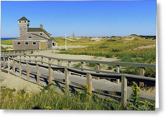 Boardwalk Leading Towards Old Harbor Greeting Card