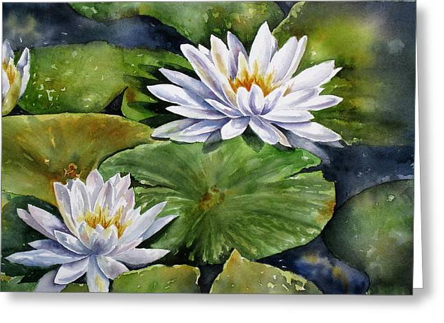 Greeting Card featuring the painting Boardwalk Lilies by Mary McCullah