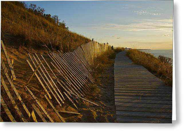 Boardwalk Overlook At Sunset Greeting Card