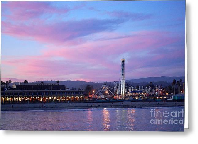 Santa Cruz Beach Boardwalk Pink Sunset Greeting Card by Debra Thompson