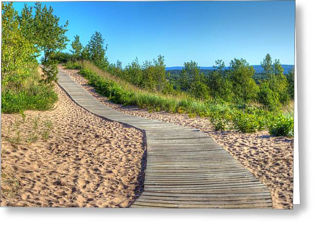 Boardwalk Through The Dunes Greeting Card by Twenty Two North Photography