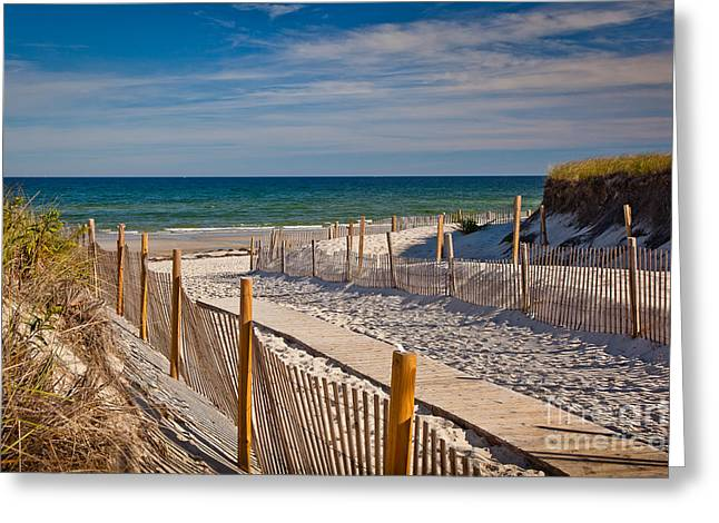 Boardwalk To Cape Cod Bay Greeting Card by Susan Cole Kelly