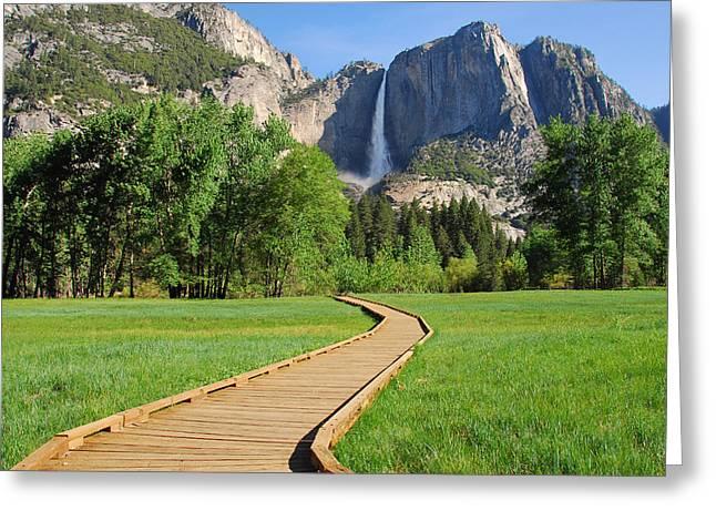 Boardwalk To Yosemite Falls  Greeting Card