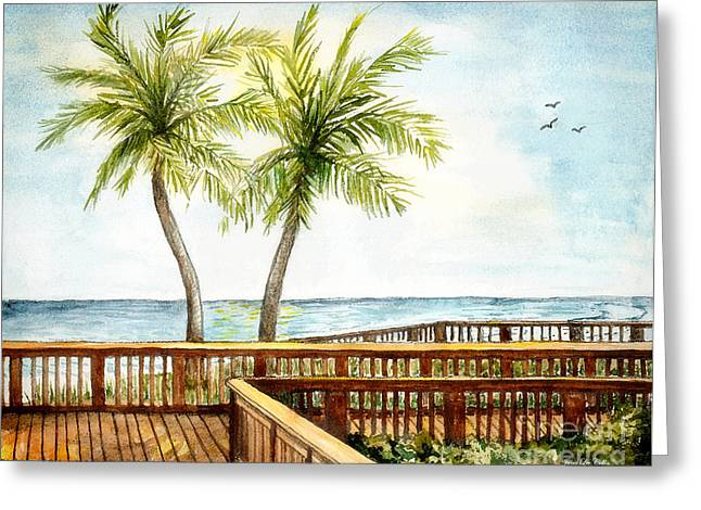 Boardwalk With Two Palms Greeting Card
