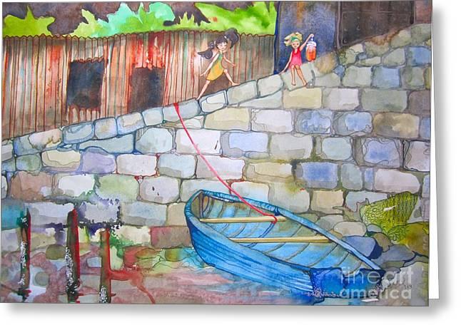 Boat Along The Wall Greeting Card by Maya Simonson