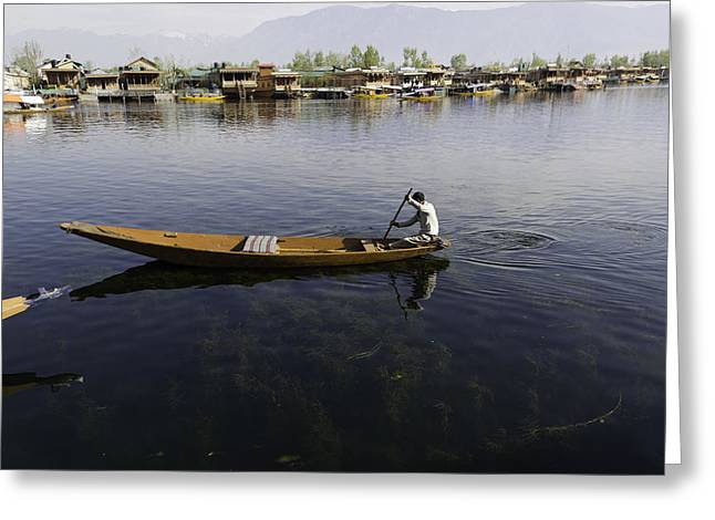 Boat Among The Weeds - Man Rowing His Boat In The Dal Lake Greeting Card by Ashish Agarwal
