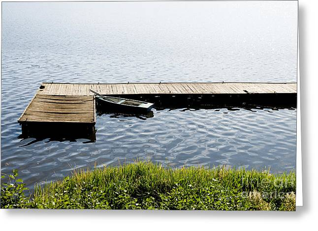 Boat Moored To Old Cracked Wood Bridge  Greeting Card
