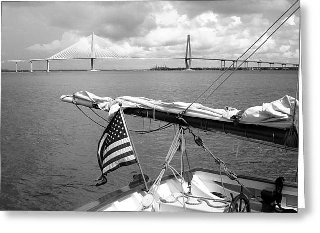 Greeting Card featuring the photograph Boat And Charleston Bridge by Ellen Tully