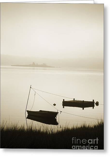 Boat And Dock Taunton River Greeting Card by David Gordon